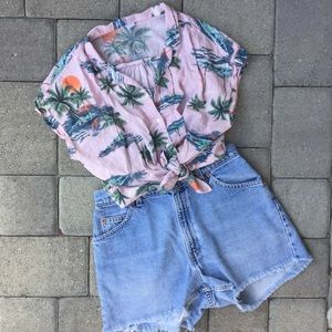Old Navy Pink Short Sleeve Tropical Palm Tree Top